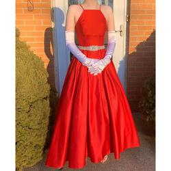 David's Bridal Red Size 0 Prom Halter Medium Height Ball gown on Queenly