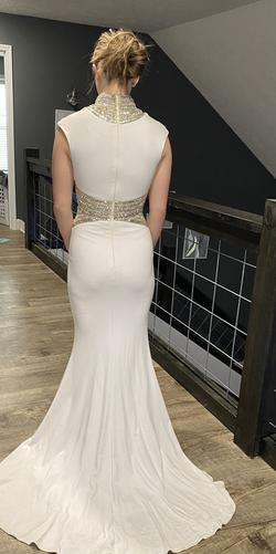 Tony Bowls White Size 4 Pageant High Neck Straight Dress on Queenly