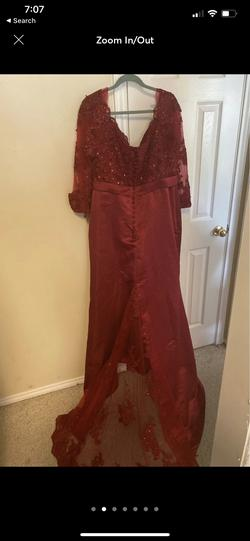 LaLa Mira Red Size 22 Plus Size Sequin Train Dress on Queenly