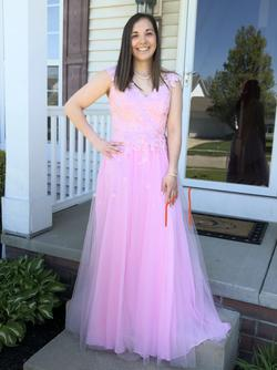 Purchased from Prom Girl site Pink Size 10 Lace Prom Straight Dress on Queenly
