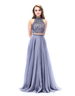 Queenly size 8 Milano Formals Silver A-line evening gown/formal dress