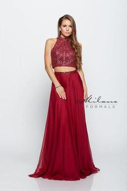 Style E1278 Milano Formals Red Size 14 Two Piece Burgundy Plus Size Straight Dress on Queenly