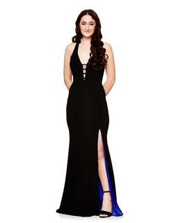 Style A17349 Betsy & Adam Black  Size 2 V Neck Fitted Side slit Dress on Queenly