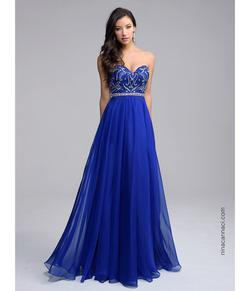 Style 1201 Nina Canacci Blue Size 8 Sweetheart Tall Height A-line Dress on Queenly