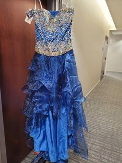Style 3595 Karishma Creations Blue Size 10 Strapless High Low A-line Dress on Queenly