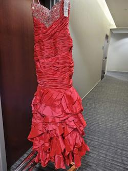 Style 4063 Wow Red Size 10 Strapless Mermaid Dress on Queenly