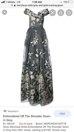 Marchesa notte Silver Size 4 A-line Dress on Queenly