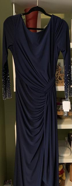 Xscape Blue Size 10 Long Sleeve Sleeves Straight Dress on Queenly