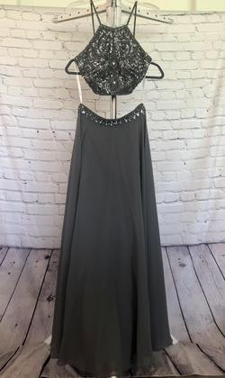 Jovani Silver Size 6 Jewelled Short Height Straight Dress on Queenly