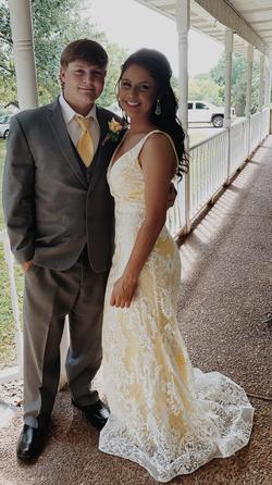 Rachel Allan Yellow Size 4 Pattern Prom Plunge Straight Dress on Queenly
