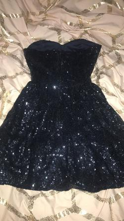 B. Darlin Blue Size 0 Shiny Cocktail Dress on Queenly