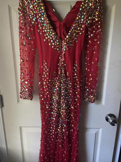 Angela & Alison Red Size 4 Prom Long Sleeve Pageant Straight Dress on Queenly