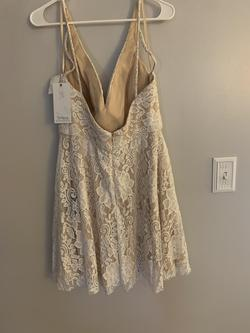 Jolene White Size 16 Nude Plus Size Lace Cocktail Dress on Queenly