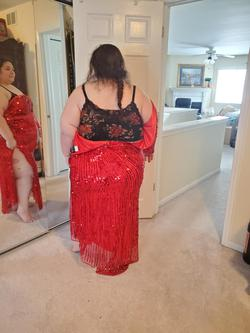 Mac Duggal Red Size 26 Sleeves Side Slit Sequin Straight Dress on Queenly
