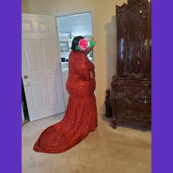 Custom Red Size 26 Short Height Plus Size Medium Height Mermaid Dress on Queenly