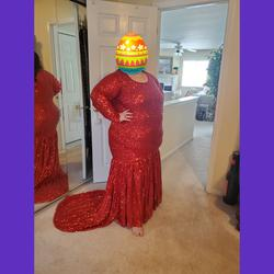 Queenly size 26 Custom Red Mermaid evening gown/formal dress
