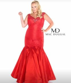 Queenly size 26 Mac Duggal Red Mermaid evening gown/formal dress