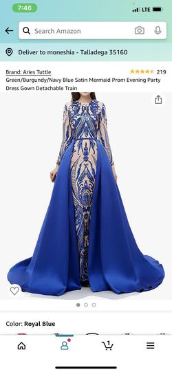 Blue Size 18 Train Dress on Queenly