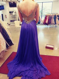 Sherri Hill Purple Size 4 Custom Silk A-line Dress on Queenly