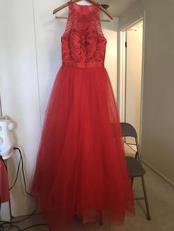 Jovani Red Size 4 Halter A-line Dress on Queenly