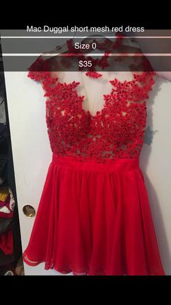 Mac Duggal Red Size 0 Medium Height Cap Sleeve Homecoming Cocktail Dress on Queenly