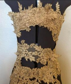 Juan Carlos Gold Size 00 Pageant Embroidery Side slit Dress on Queenly