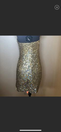 Tony Bowls Gold Size 2 Strapless Cocktail Dress on Queenly
