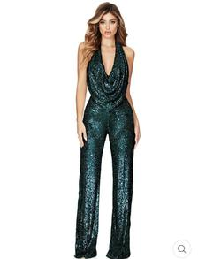 Queenly size 4  Green Jumpsuit evening gown/formal dress