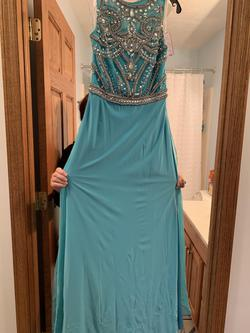 Sherri Hill Blue Size 8 Turquoise Short Height Straight Dress on Queenly