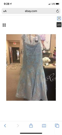 Sherri Hill Blue Size 2 Cap Sleeve Mermaid Dress on Queenly
