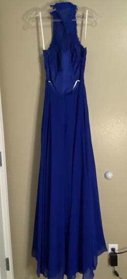 Alyce Paris Blue Size 0 Halter Straight Dress on Queenly