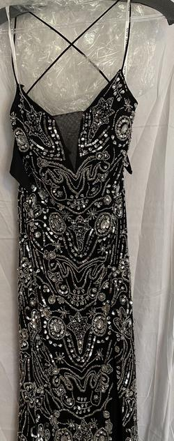 Style 7056 Rachel Allan Black Size 4 Pageant Jewelled Straight Dress on Queenly