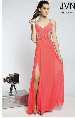 Jovani Orange Size 4 Jewelled A-line Dress on Queenly