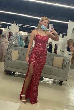 Queenly size 4 Ashley Lauren Red Side slit evening gown/formal dress
