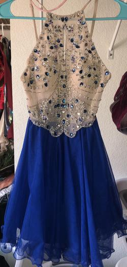 Blondie Nites Blue Size 2 Halter Cocktail Dress on Queenly