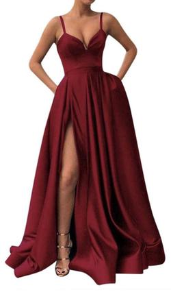 Queenly size 00  Red Side slit evening gown/formal dress