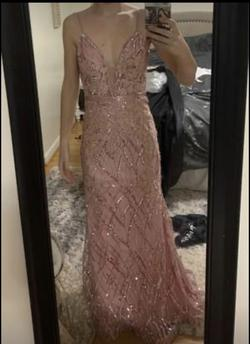 Jovani Light Pink Size 2 Train A-line Dress on Queenly