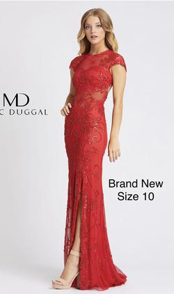 Mac Duggal Red Size 10 Embroidery Straight Dress on Queenly