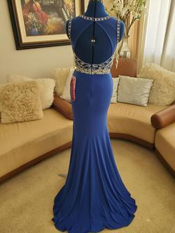 Mori Lee Blue Size 2 Jewelled Side slit Dress on Queenly