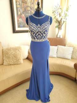 Queenly size 2 Mori Lee Blue Side slit evening gown/formal dress