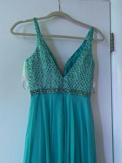 Sherri Hill Blue Size 00 Prom Beaded Top Turquoise A-line Dress on Queenly