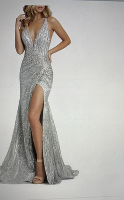 Style 30621 Mac Duggal Silver Size 4 Pageant Side Slit Mermaid Dress on Queenly
