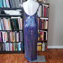 Fleur de Lis Purple Size 10 Side Slit Jewelled Straight Dress on Queenly
