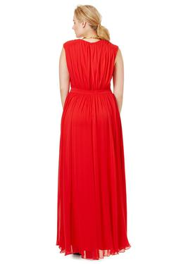 Badgley Mischka Red Size 22 Polyester Side Slit Tulle A-line Dress on Queenly