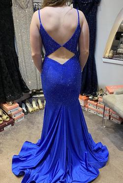 Ellie Wilde Blue Size 8 Pageant Backless Mermaid Dress on Queenly