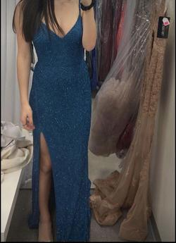 Sherri Hill Blue Size 4 Side Slit Pageant Straight Dress on Queenly
