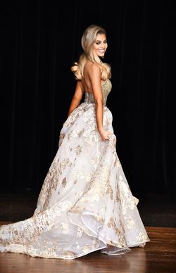 Sherri Hill Gold Size 00 Pageant Floral Side slit Dress on Queenly