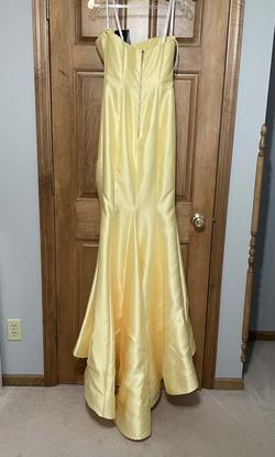 Sherri Hill Yellow Size 4 Side Slit Train Mermaid Dress on Queenly