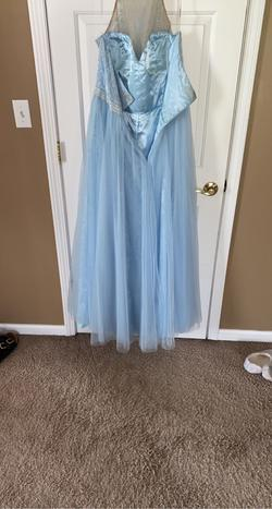 Sherri Hill Light Blue Size 18 Halter Ball gown on Queenly