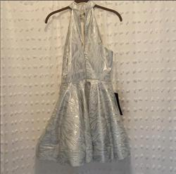 bebe Silver Size 4 Halter Sorority Formal Cocktail Dress on Queenly